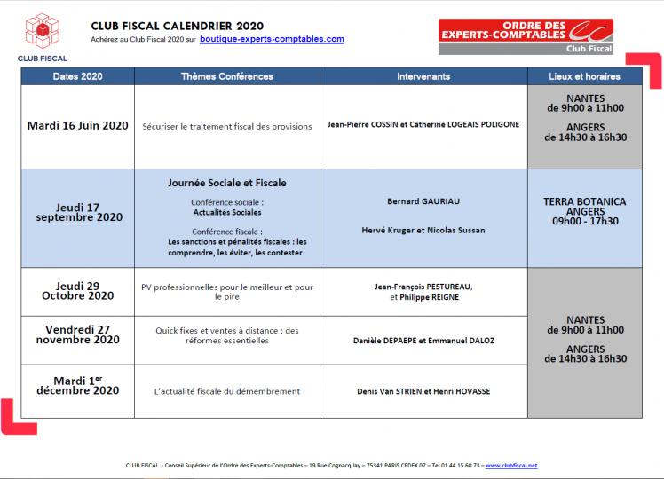 calendrier club fiscal 2020