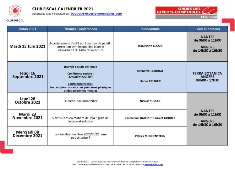 CLUB FISCAL Calendrier 2021